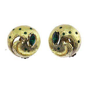 Gold and Green Rhinestone Earrings